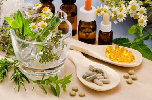 A selection of natural remedies including plants, oils and pills