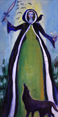 The Morrigan, Celtic War and Fertility Goddess, painting by Judith Shaw
