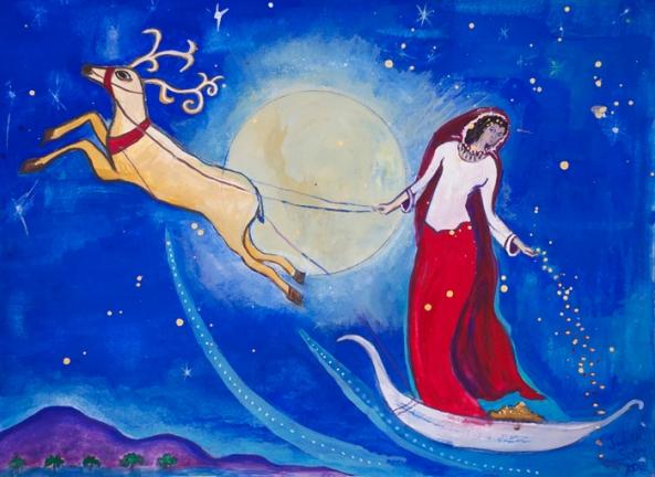Saule, Sun Goddess painting by Judith Shaw