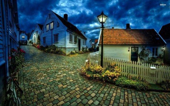 village-town-night